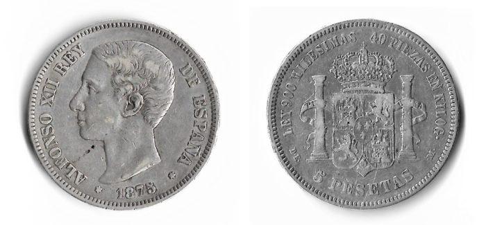 Moneda de plata de 5 pesetas de Alfonso XII
