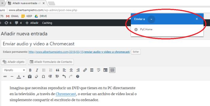 Cuadro de diálogo de Chromecast