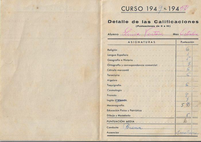 Boletín escolar de María Luisa Ventosa