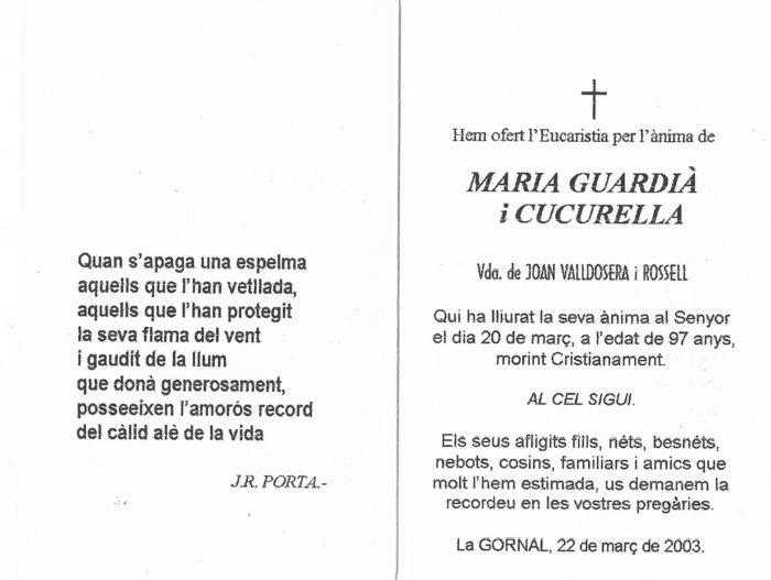 Esquela de María Guardià i Cucurella